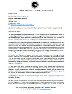 MSA Letter to Governor Hogan – Elective Procedures and Preservation of Medical Supplies/Personal Protective Equipment