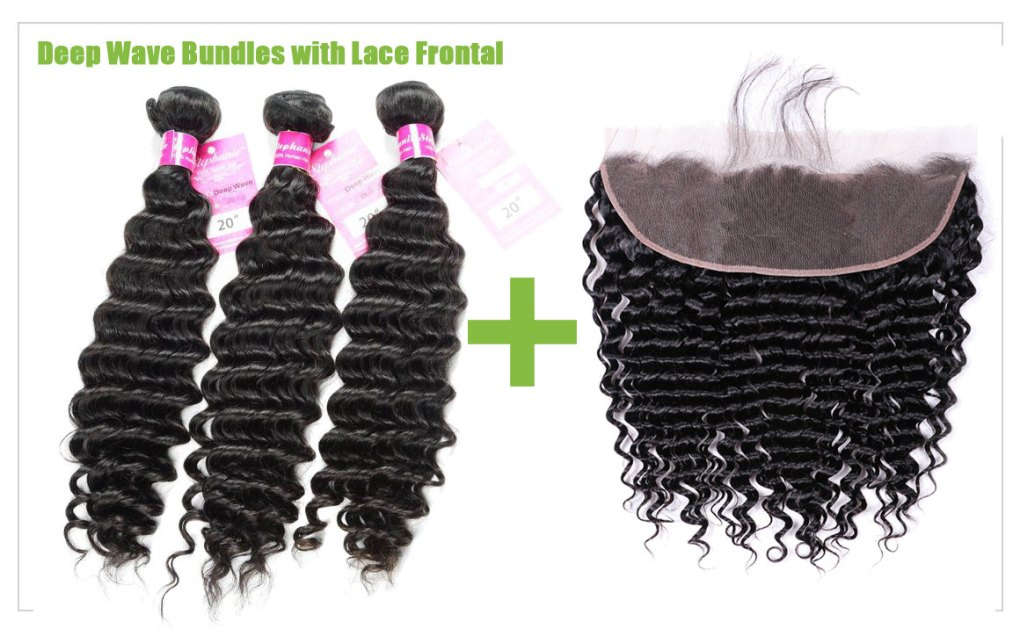 deep wave hair bundles with lace frontal