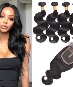 Brazilian Body Wave Hair 4 Bundles With Lace Closure
