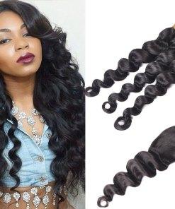 Brazilian Loose Deep Wave Hair 3 Bundles With Closure