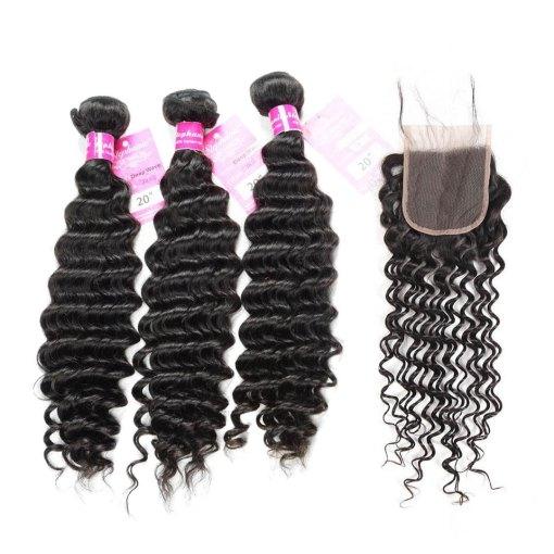 Deep Wave 3 Bundles Human Hair With lace Closure