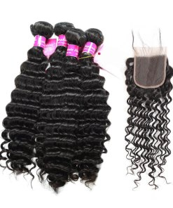 Deep Wave Bundles Human Hair With lace Closure