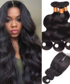 Peruvian Body Wave Hair 3 Bundles With Lace Closure Virgin Human Hair