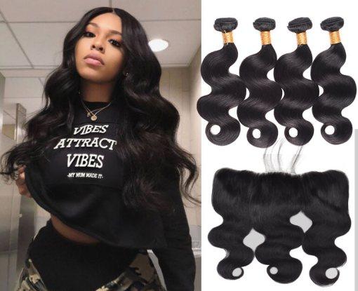 Peruvian Body Wave Hair 4 Bundles With Lace Frontal Virgin Human Hair