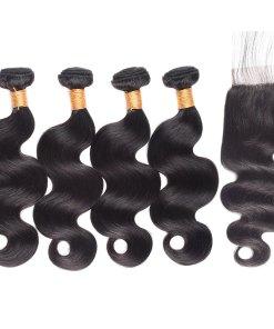 Peruvian Body Wave Hair 4 Bundles With Virgin Human Hair Lace Closure