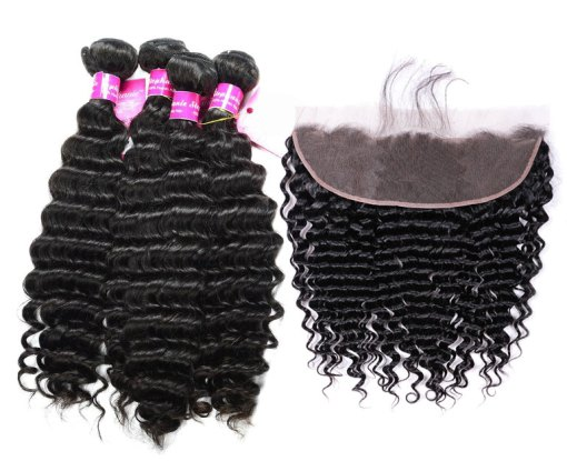 Peruvian Deep wave Hair 4 Bundles With Lace Frontal
