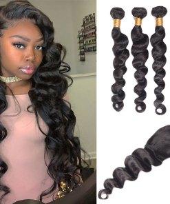 Peruvian Loose Deep Wave Hair 4 Bundles With Lace Closure