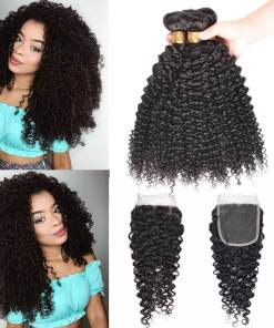 Indian Curly Weave Hair 3 Bundles With Closure