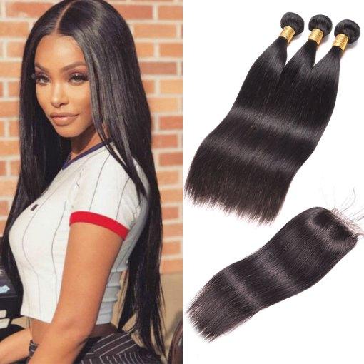 Indian Straight Hair 3 Bundles With Lace Closure Virgin Human Hair