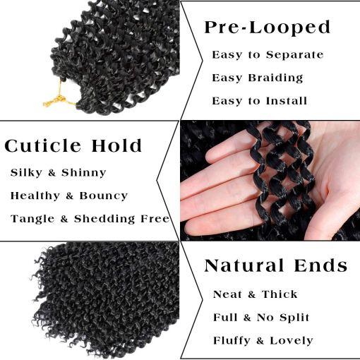 Passion Twist Hair 18inch Black Water Wave Crochet Hair