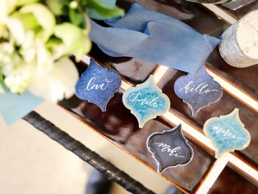 Blue tiles place cards