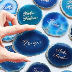 agate slices place cards