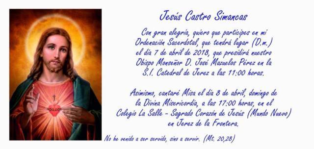 Ordenación de Jesús Castro Simancas