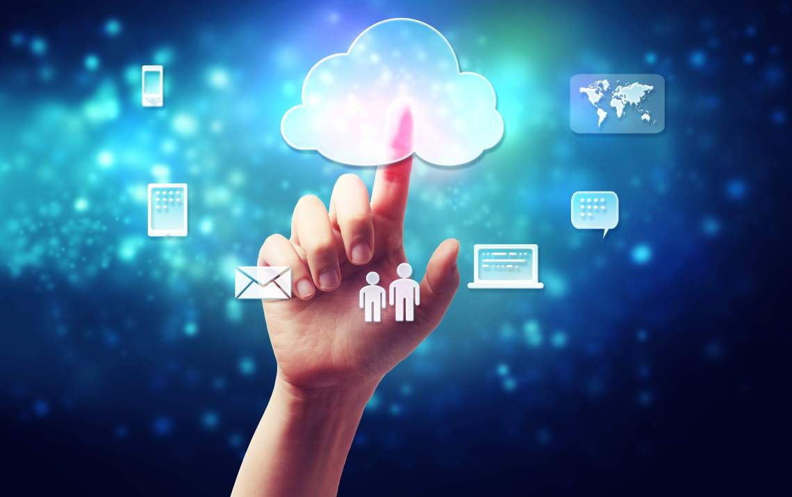 Hand with cloud, cloud technology -MS Cloud IT Pro