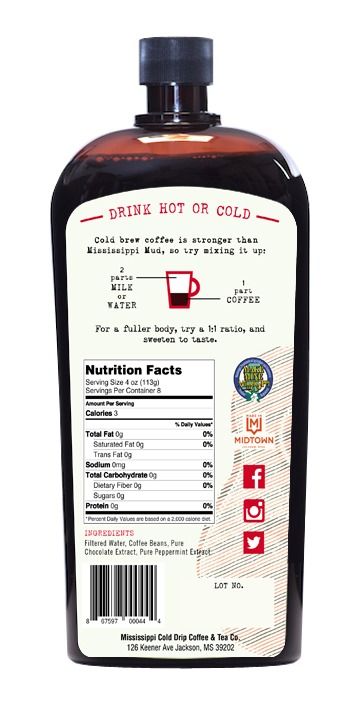 Cold Drip Mocha Peppermint back label