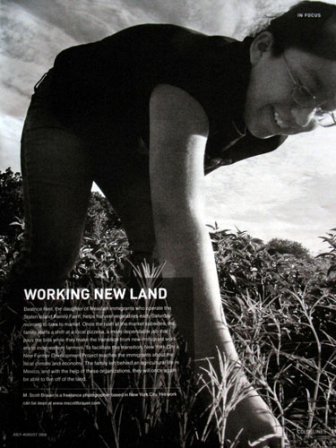 "A single from the story ""New American Farmers\"" was published full page in Colorlines magazine."