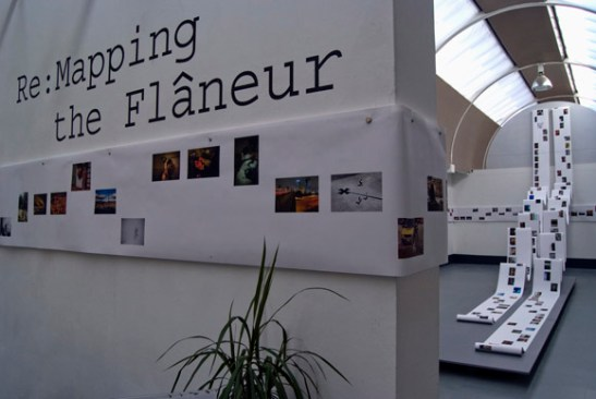 Installation of Re:Mapping the Flaneur at Newcastle Arts Centre