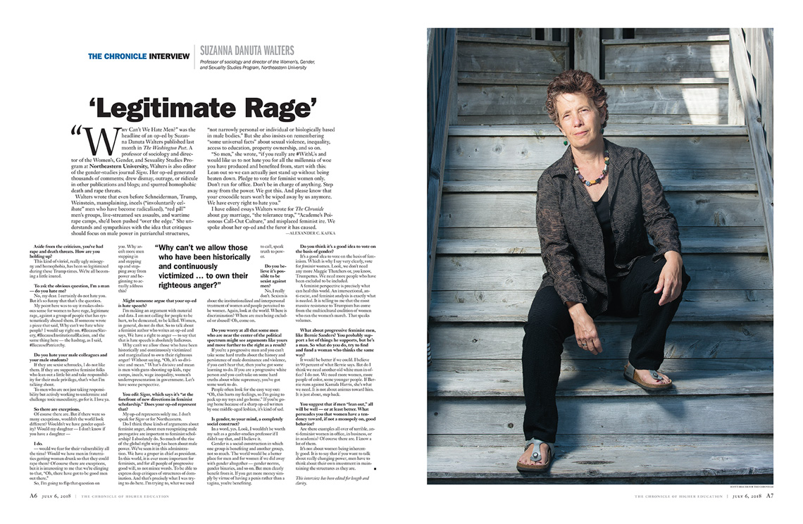 Tearsheet: Suzanna Walters - photo by M. Scott Brauer for The Chronicle of Higher Education - July 6, 2018