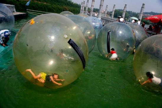Children in bubbles - Nanjing, Jiangsu, China.