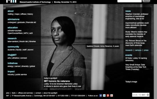 Screenshot of MIT.edu on 11 November 2013 - photo by M. Scott Brauer
