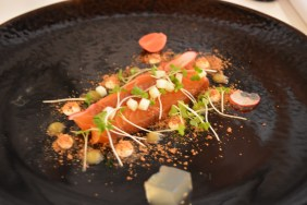Treacle Smoked Salmon with Whiskey and Apple Jelly, Smoked Cods Roe and Mustard Cress