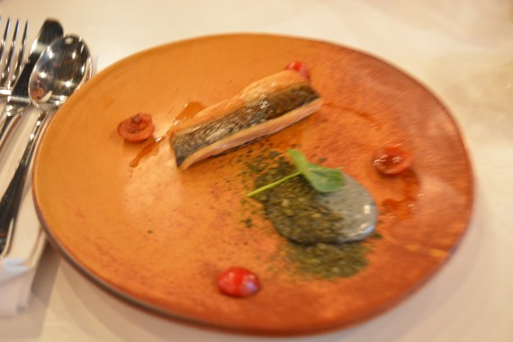 Cornish Mackerel With Charcoal Mayonnaise, Pickled Cherries and Seaweed