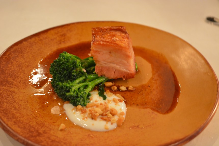 Crisp Pork Belly with Purple Sprouting Broccoli and Yoghurt