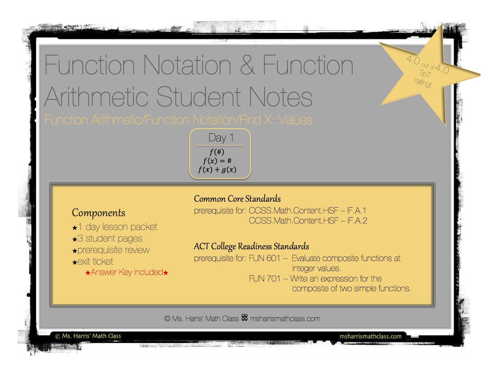 Function Notation Amp Arithmetic Interactive Student Notes
