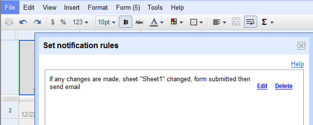 Google Docs - Form - Set Notification Rules
