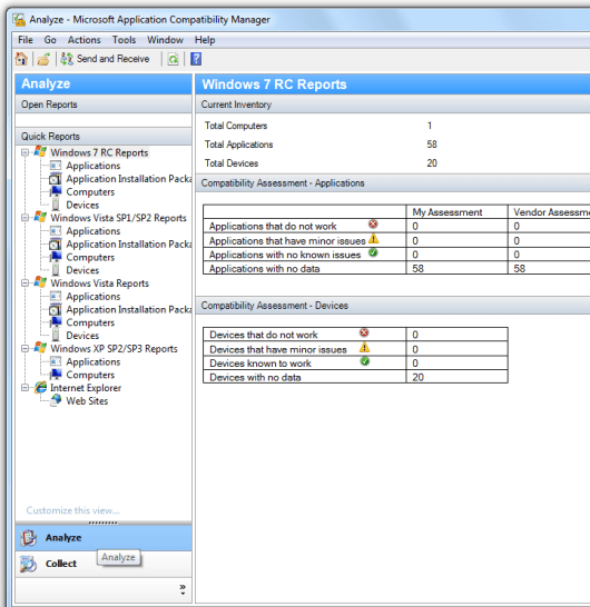 Application Compatibility Manager - Analyze Phase