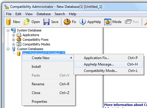 Creating an Application Fix Compatibility Administrator