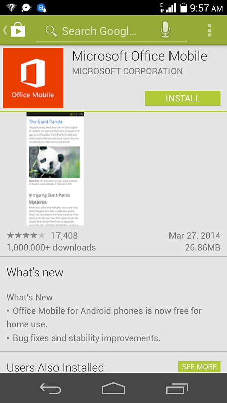 Microsoft Office Mobile for Android