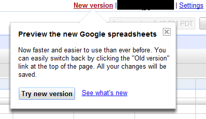 Preview the New Google SpreadSheet