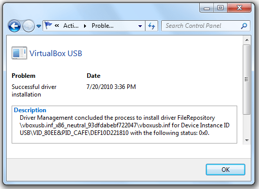 Reliability Monitor in Windows 7 - View Technical Details of Virtual Box Error