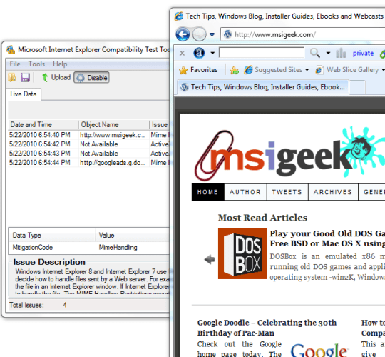 Report Gathering - Internet Explorer Compatibility Test Tool