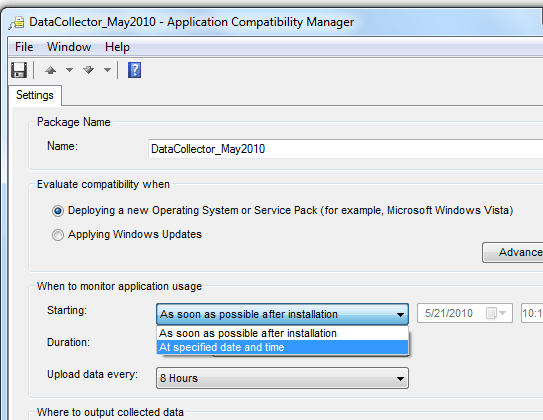 Scheduling a Data Collection Package