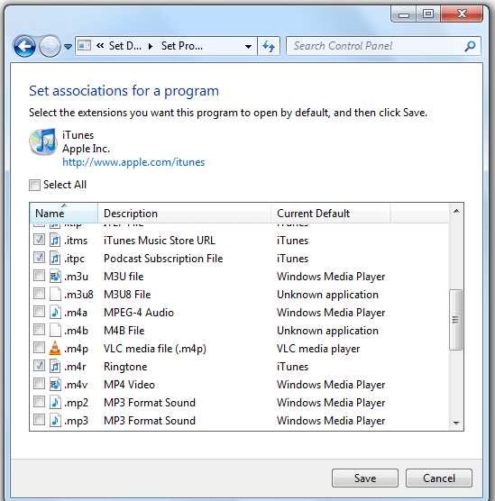 Set Default Program for Specific File extension