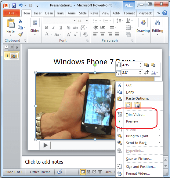 Invoke Trim Video Options in PowerPoint 2010