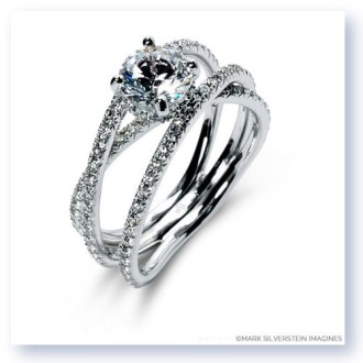 Mark Silverstein Imagines 18K White Gold Double Band Crossover         Double Band Crossover Diamond Engagement Ring      Larger Photo Email A  Friend