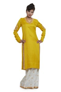 Bright yellow kurti and loose flared pants by The Lifestyle Temple