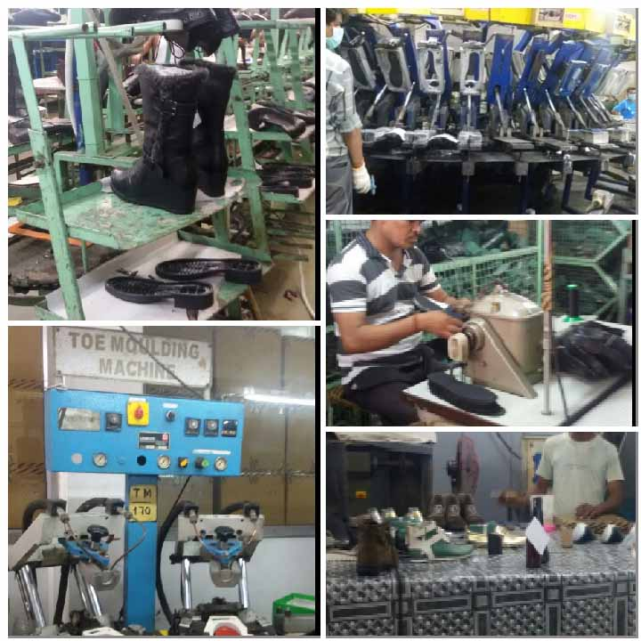 (clockwise from left top) The final stages of a shoe construction in a factory