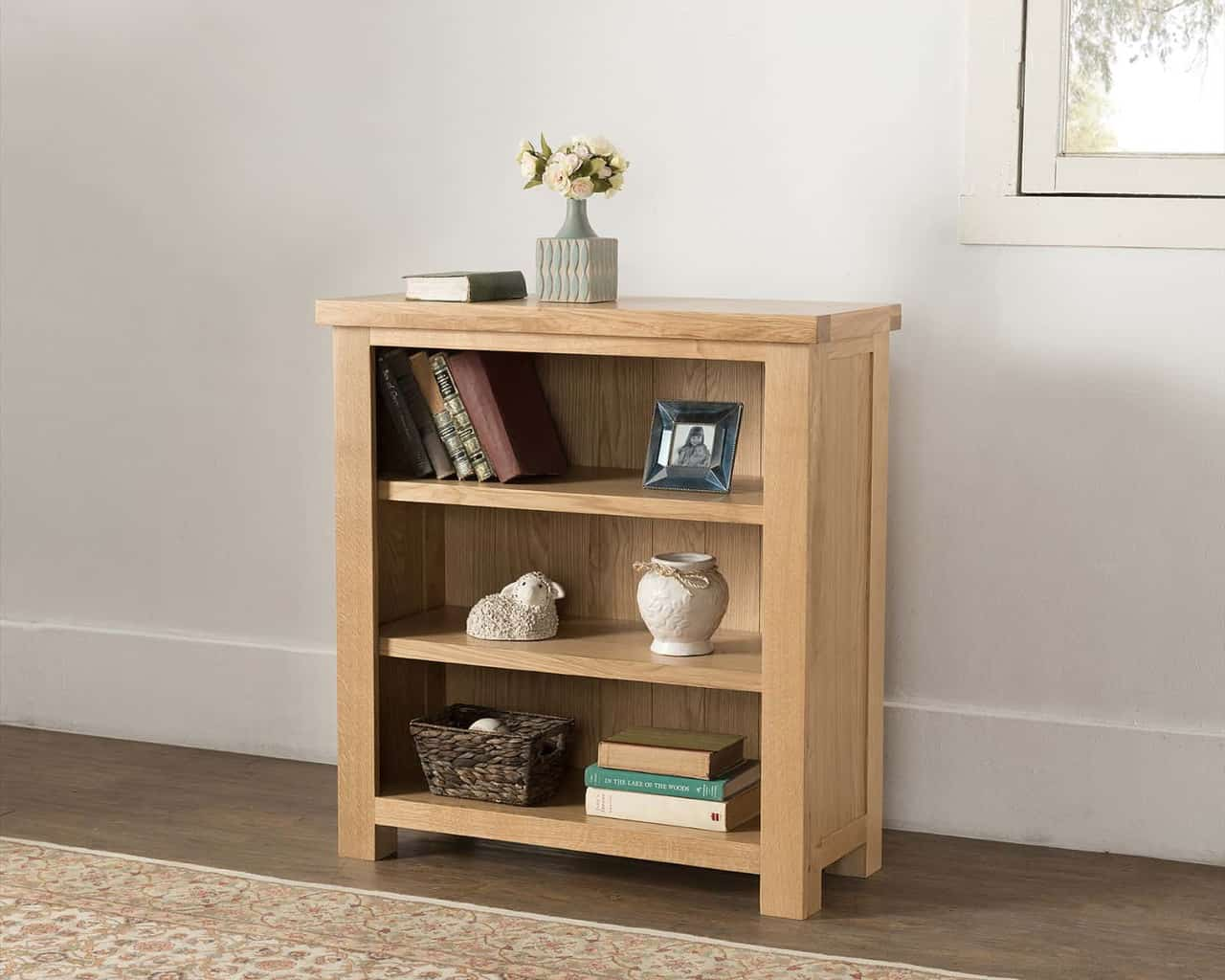 Valencia Solid Wood Chunky Oak Small Low Open Bookcase Display Unit