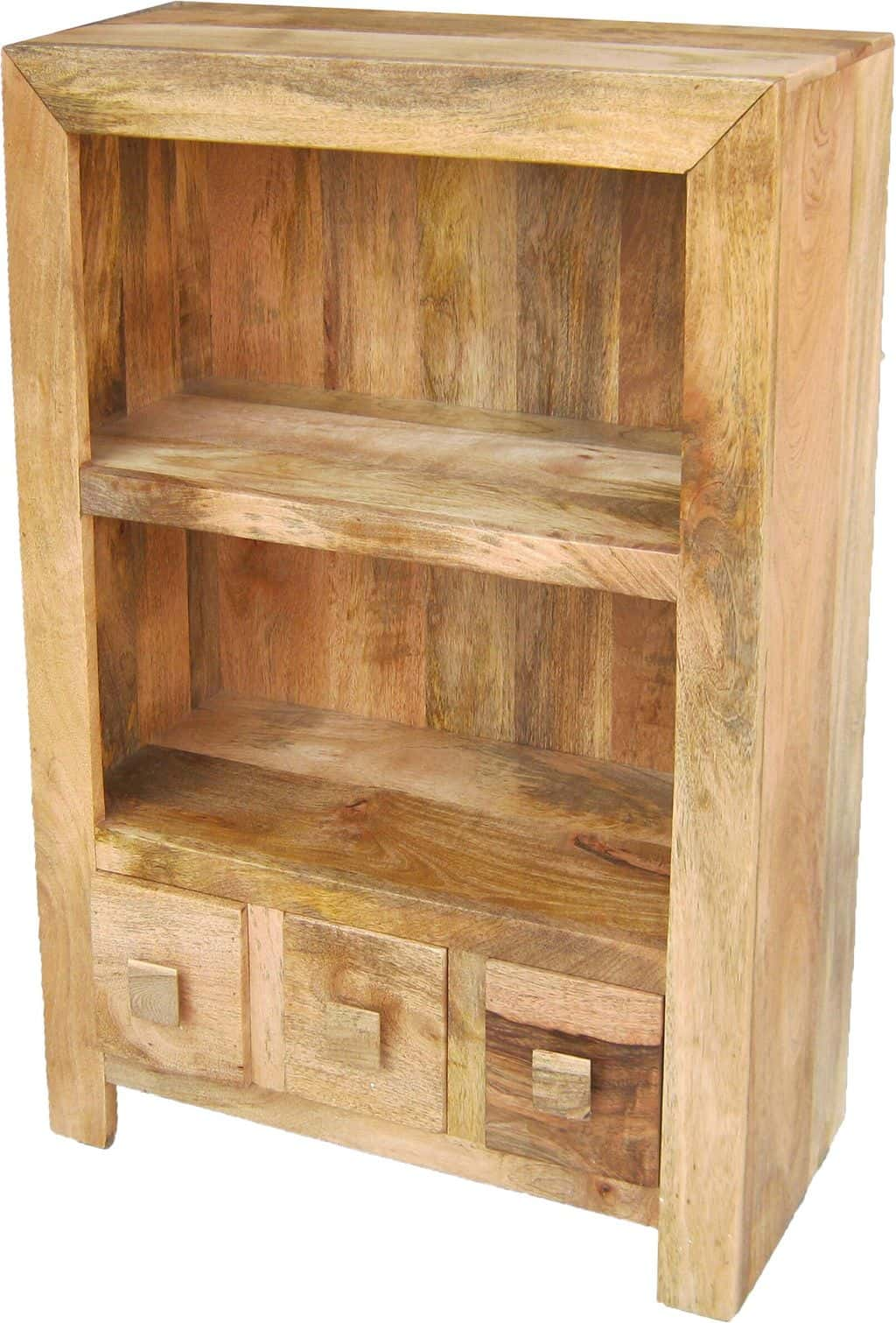 Solid Light Mango Wood Small Low Open Bookcase Display Unit