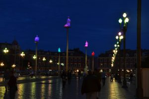 Illuminated Sculptures at Place Massena, Nice, France