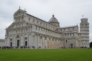 The Church at Pisa, Italy with it's Famous Leaning Bell Tower