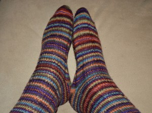 "My New ""Reggia"" Socks from Yarn Purchased in Munich"