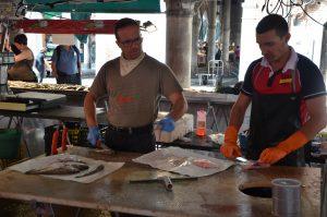 Filleting Fish at the Fish Market, Venice, Italy