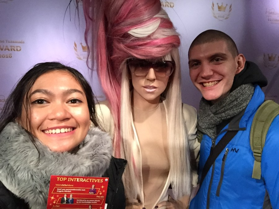 Eloise and Dimitar with Lady Gaga at Madame Tussauds