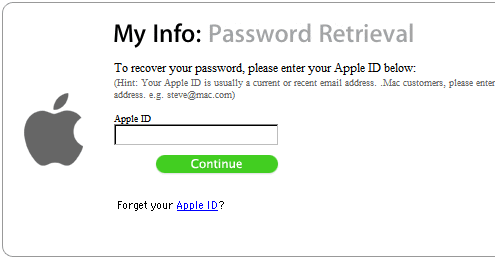 My Info: Password Retrieval