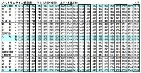 アストラムライン時刻表